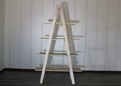 Escalera de piso 4 niveles blanca rústica 200 alto x 120 largo x 45 ancho