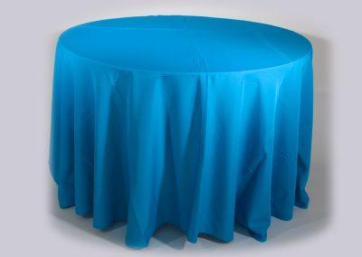 Mantel redondo azul turquesa