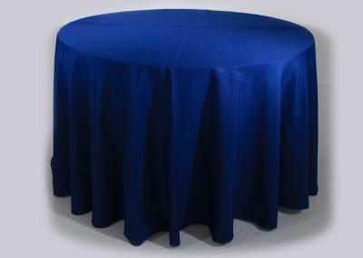 Mantel redondo azul oscuro