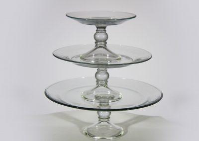 Portacupcakes set 3 piezas vidrio