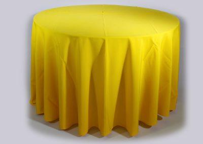 Mantel redondo amarillo quemado
