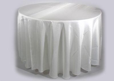 Mantel redondo blanco tafetan