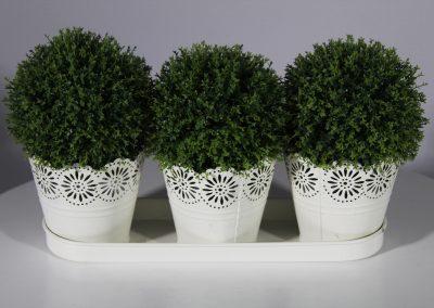 Trío baldes latón con planta decorativa