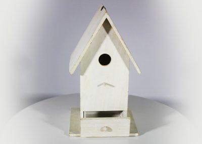 Casa pajarito blanca madera mini