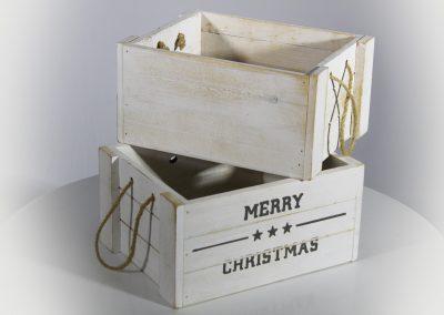 Caja madera blanca christmas