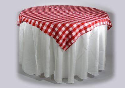 Tapa cuadros rojos y blancos 150 cm x 150 cm