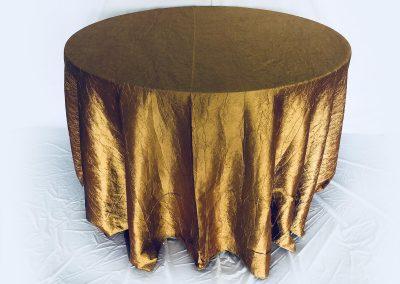Mantel Redondo Tafetan Corrugado Dorado