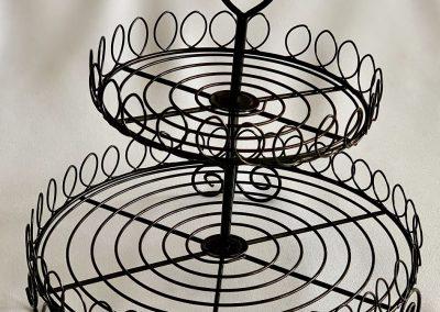 Base cup cakes alambre negro alto 25 cm, diametros 24 y 17 cm